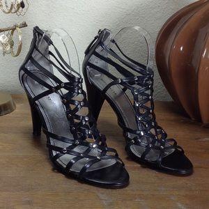 Nine West Black Leather Cage Stiletto Sandal